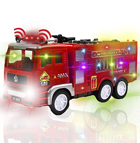 Toysery Fire Truck Toy for Kids, Automatic Steering Rescue Fire Truck Toy with Flashing Lights and Real Siren Sounds, Battery Operated Automatic Bump & Go Car Emergency Fire Engine Toy Truck