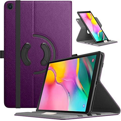TiMOVO Funda de Tablet Compatible con Galaxy Tab A 10.1 2019, Cubierta Protectora de Cuero PU con Soporte Giratorio de 90 Grados - Morado