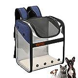 WEECOC Bolsa de transporte para mascotas mochila de transporte jaula para gato perro jaula portátil para mascotas con estructura de alambre transparente plegable espaciosa (azul)