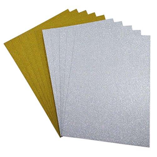 ULTNICE 10pcs Glitter Cardstock Papier Schein A4 Karte für Diy Material Handwerk Scrapbook (Gold + Silber)