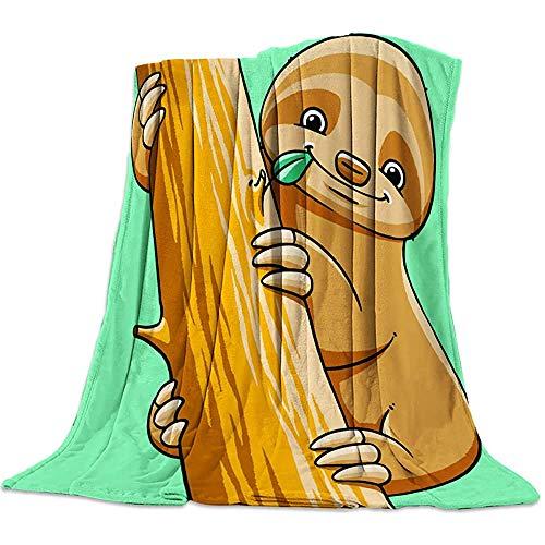 Emily-Shop Cartoon Sloth Flanella Coperta da Lancio Coperta da Stadio Super Soft Warm Snuggle per Divano Divano e Letto Uso Quotidiano 60 '' x 80 ''