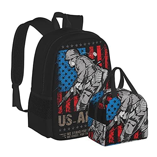 Us Army Military We Stand for The American Flag Lunch Bag e Zaino Combinazione Unisex Bookbag Viaggio Scuola Borse Laptop Zaino Cena Bag Lunch Box riutilizzabile