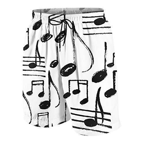 Costumi da Bagno da Uomo Personalizzati,Bambino con Note Musicali Canzone Rock Drawn Brush Doodle Schizzo a Mano,Costumi da Bagno Quick Dry Swim Trunks Costume da Bagno Shorts L