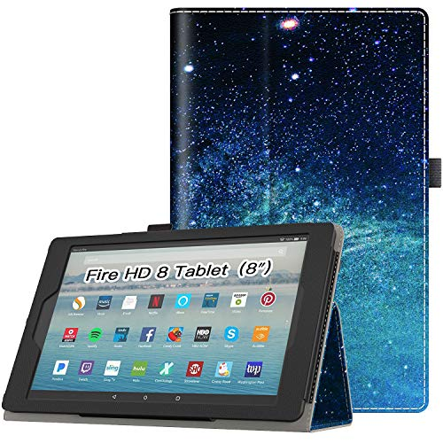 Retear Case for Amazon Leather Kindle Fire HD 8 Tablet(7th/8th Generation, 2017/2018 Release) PU Leather Cover with Auto Wake/Sleep
