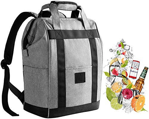 Backpack Cooler Insulated Leakproof Waterproof Oxford Fabric Light Weight Large Capacity Ice Picnics Bag Cooler Tote for Beach Travel Camping HikingField Trips Gray
