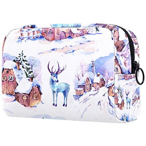 Bolsa organizadora de cosméticos para mujer con cremallera de 19 x 7 x 12 cm, casas de invierno y ciervos
