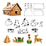 18-Piece 3D Christmas Cookie Cutters Set- Gingerbread House, Christmas Tree, Deer and Sled DIY Cookies Molds for Holiday ,Halloween& Christmas