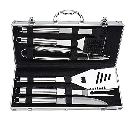 ZYBKB Heavy Duty BBQ Grilling Tool Sets, Extra Thick Stainless Steel Spatula, Tongs, Fork, Basting Brush, Knife and Skewers, Gift Box Package, Best for Barbecue & Grill, 6 Pack Utensils Accessories