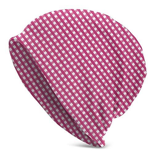 XCNGG Pink Close Plaid Unisex Männer Frauen Beanie Hut Warmer Outdoor Hut Skullies Beanies Chemo Hat