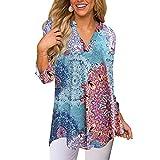 MORCHAN Mode Femmes Lâche Fleurs Trois-Quarts Manches V-Cou T-Shirts Tops Blouse(FR-44/CN-2XL,Multicolore)