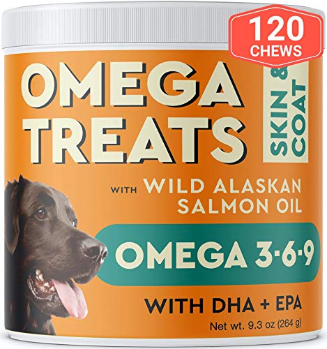 Pawfectchow Fish Oil Omega 3 for Dogs - Allergy Relief - Joint Health - Itch Relief, Shedding - Skin and Coat Supplement - Alaskan Salmon Oil Chews - Omega 3 6 9 - EPA & DHA Fatty Acids