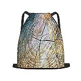 USOPHIA Mochila con cordón,Doble exposición de árboles en maderas y tron, Gym Sackpack para Hombres Mujeres Niños Yoga Travel Camping String Bag.