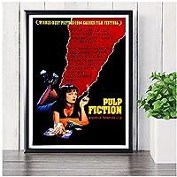 IUYBHRYI パルプフィクション喫煙ヴィンテージ映画ポスターとプリント壁アート写真キャンバス絵画リビングルームの家の装飾-50x70cmフレームなし