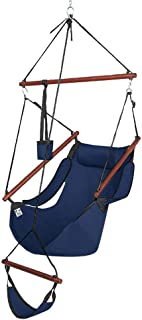 ONCLOUD Upgraded Unique Hammock Hanging Sky Chair, Air Deluxe Swing Seat with Rope Through The Bars Safer Relax with Fuller Pillow and Drink Holder Solid Wood Indoor/Outdoor Patio Yard 250LBS (Blue)