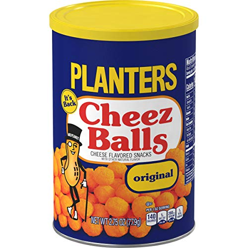 PLANTERS Cheez Balls 2.75 Oz. Canister (Pack of 12) - Nostalgia Flavor Cheese Snack - Shareable Snacks for Adults & Snacks for Kids - Bulk Snacks - Great Movie Snacks & Game Day Snacks - Kosher