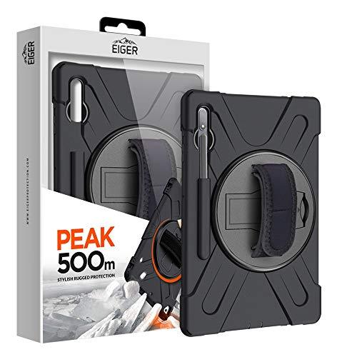 EIGER Peak - Funda para Samsung Tab S7+ (500 m, función atril giratoria 360), color negro