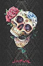JOURNAL: Black Damasque Sugar Skull Goth accessories Notebook - College classic Ruled Pages Book (5.5 x 8.5) a5 Planner - Dia de los Muertos - Lined ... Notebook to write in (Positive Vibrations)