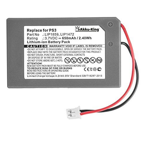Akku-King Akku kompatibel mit Sony LIP1859, LIP1472, MK11-2922, LIS1359 - Li-Ion 650mAh - für Playstation 3 PS Sixaxis Controller, PS3 Joystick
