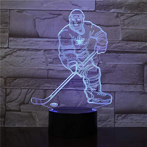 Sensor 3d nachtlicht led fernbedienung touch schalter hockey player bunte usb acryl 3d lampe sport schreibtischlampe dekoration usb wiederaufladbare frau ehemann sohn tochter papa mama enkel geschenk