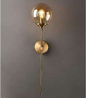 MZStech Applique murale industrielle vintage, globe en verre Ambre avec applique murale dorée à bras long, applique murale...