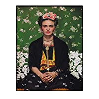 スペインの現代シダの花の中にアートの定義とフリーダ・カーロポスター印刷ビンテージ水彩画の肖像画キャンバスの家の壁の芸術の装飾、アンフレーム、自画像を煙,B,70×90cm