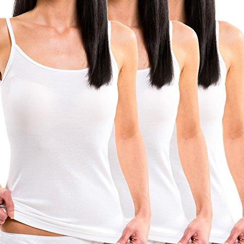 HERMKO 1560 3er Pack Damen Träger Top aus 100% Baumwolle, Farbe:weiß, Größe:44/46 (L)