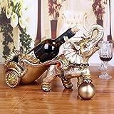 Botelleros de Vino Ecológico Resina elefante de la compra del estante del vino traído por caballo Crafts Escritorio Decoración del ornamento titular del carro vino Figurines la decoración del hogar