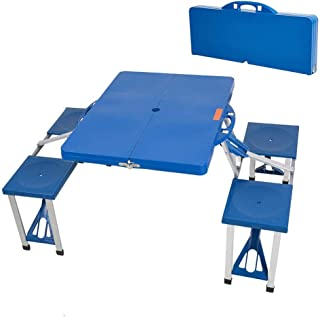 Dporticus Outsunny Portable Lightweight Folding Suitcase Picnic Table/Built-in 4 Chairs(Blue)