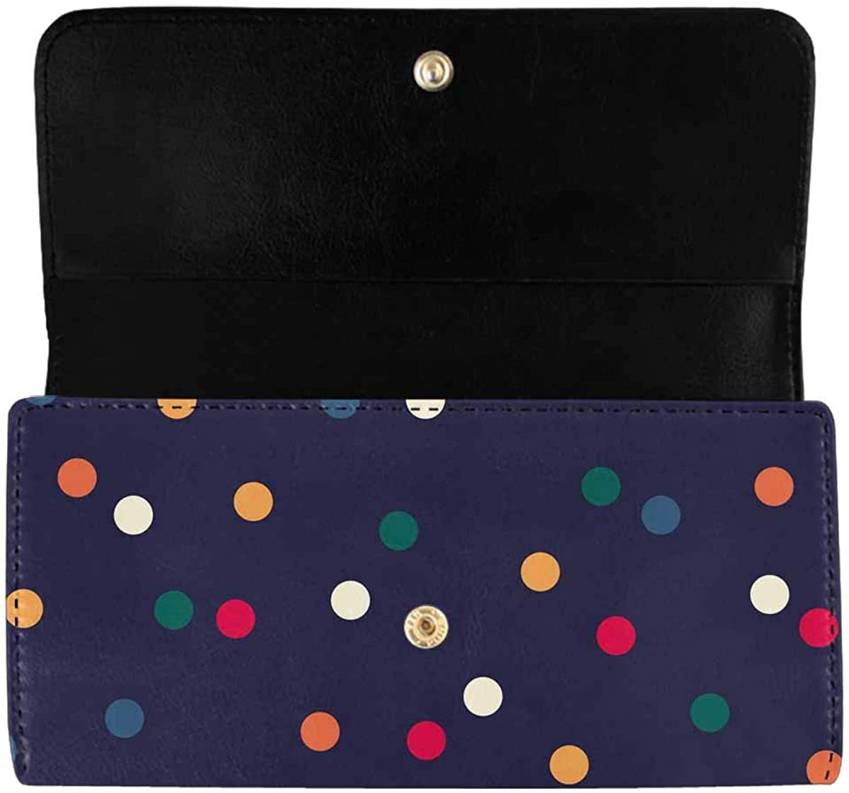 INTERESTPRINT Women's Long Clutch Purses Colorful Circles Trifold Card Holder Wallet