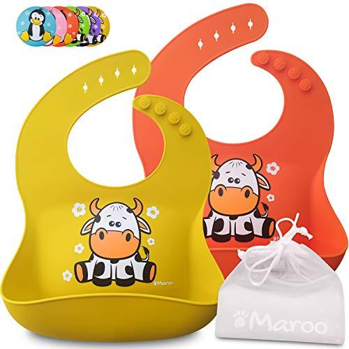 Baberos de silicona impermeables para bebés y niños de 6 meses a 4 años, bolsillo grande, suave, cómodo de limpiar, plegable en una bolsa incluida. Ideal para asilo (Orange Cow)