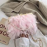 Bolsos Mujer Bolso De Plumas Blancas Bolso De Embrague De Noche para Mujer Exquisita Cadena De Perlas Boda Bolso De Hombro Nupcial Fiesta Banquete Totalizador Rosa