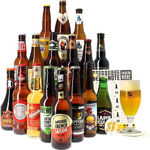 Assortiment ou Coffret de bières - Idée Cadeau - Bières du Monde - Pack de Bière - Noël - Anniversaire - Fête des pères (Coffret Autour du Monde - 17 bières)