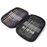 AUBERSIT Juego de agujas de tejer de ganchillo de aluminio multicolor de 22 piezas, artesanía de tejido con juego de punto con asa de bolsa, A