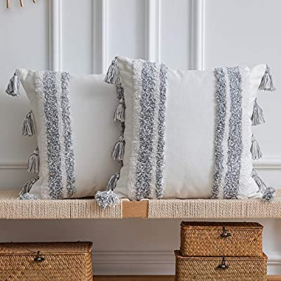 DEZENE Boho Throw Pillow Covers: Set of 2 Woven Tufted 100% Cotton Square Decorative Pillowcases with Tassels for Couch Sofa Bed, Accent Cushion Covers for Home Decor Farmhouse, 20 x 20 Inch Grey