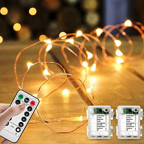 Svarog 2 Packs LED String Lights with Remote Control,Battery Operated Fairy String Lights,16ft 50LED Waterproof Copper Wire Starry Fairy Light for Bedroom Wedding Party Xmas Festival Deco(Warm White)