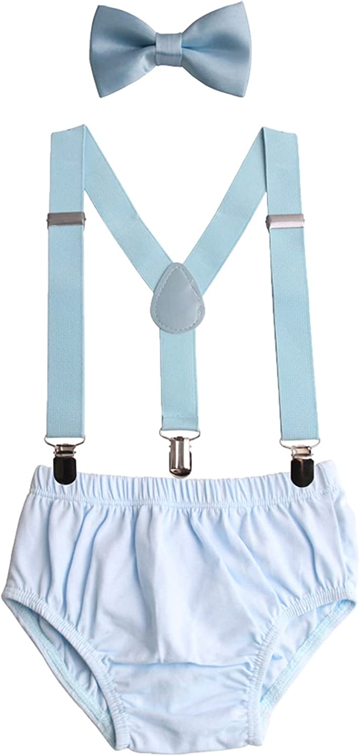 GUCHOL Baby Boys First Birthday Cake Smash Outfit Suspenders Bow Tie Rugby ONE Themes Diaper Cover (Light Blue Cake Smash Outfit)