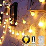 YoTelim Globe String Lights Battery Operated Warm White ,Water Proof 2 Pack...