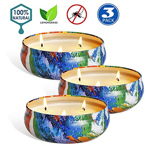 UG1 Citronella Candles 14.5Oz Natural Scented Soy Wax Portable Travel Tin Candle Set, 26 Hour Burn, Outdoor and Indoor 3-Packs