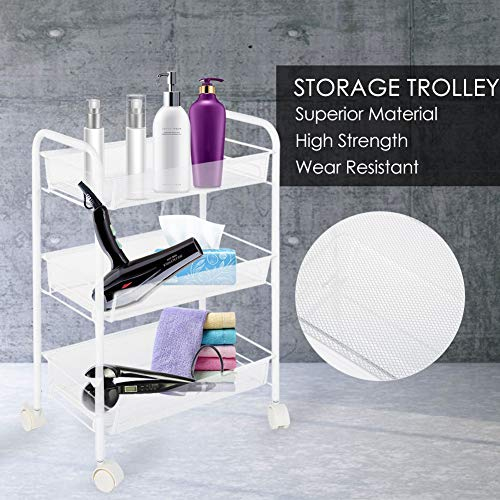 GOTOTOP Removable 3 Tiers Metal Rolling Wheel Storage Trolley/Serving Trolley/Storage Rack/Storage Unit/Utility Trolley Carts for Hair Salons Beauty Salons/45x27x63cm