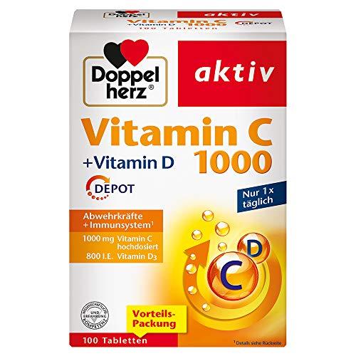 Doppelherz Vitamin C 1000 + Vitamin D – Mit Vitamin C und Vitamin D als Beitrag zur normalen Funktion des Immunsystems – 100 Tabletten
