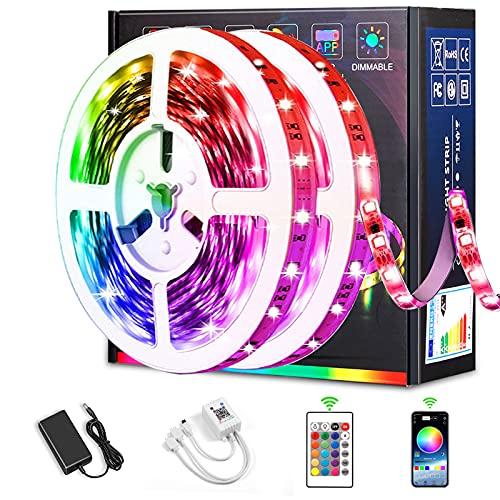 Tira de Luz LED, Luces LED Habitacion 10M RGB SMD 5050 Luces LED Kit de Cambio de Color, Bluetooth RGB Tiras de Luces LED Controladas por APP, para Decoracion de Pared, Techo (10M Blutooth)