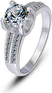 lem Abrillantador de anillosJuego de 4 Puntas con Diamantes Plata esterlina 925 Diamante Cuadrado Empresa Simple, Elegante...