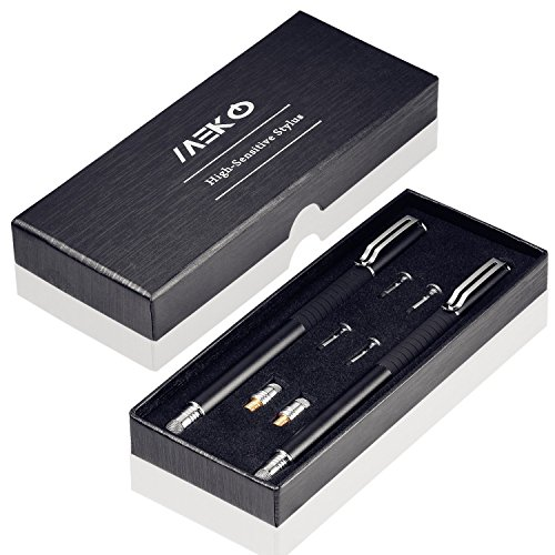 MEKO 2 in 1 Kapazitive Precision Disc Eingabestifte für alle Touch-Screen-Smartphones & Tablets (Schwarz*2)
