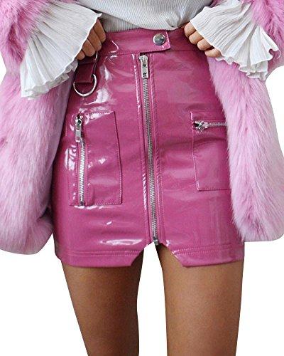 Damen Pu-Lederrock, Reißverschluss Rock, Kurz Mini Rock, Kunstleder Rock Party Clubwear Pink S