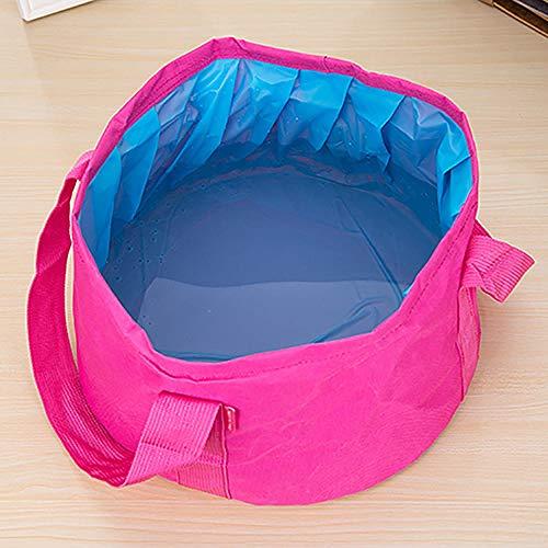 Alberta Tragbare 15L im Freien Spielraum Faltbare Falte Camping Waschbecken Schüssel Bassin-Wannen-Fuß-Wash Bag Badewanne Bucket-blau (Color : Rose Red)