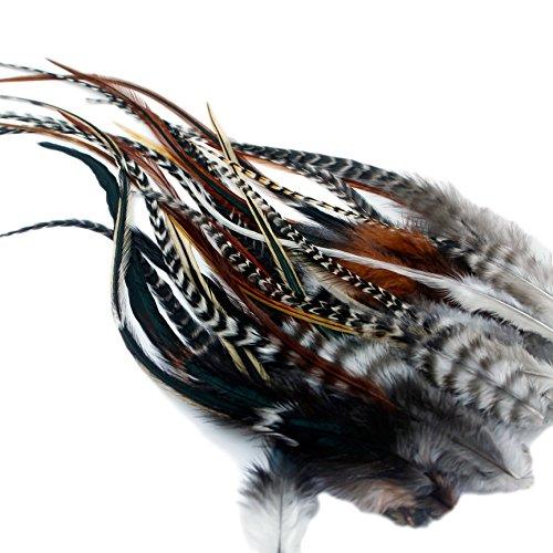 Extensiones de pelo de plumas reales – 25 esponjosas + 25 anillos/bucle / instrucciones (idioma español no garantizado).
