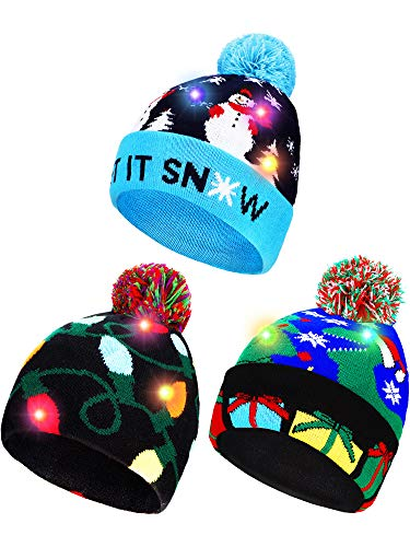 3 Pieces Led Christmas Knitted Hat Light up Xmas Beanie Cap Novelty Unisex Led Winter Hat with 6 Colorful Led