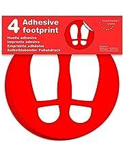 Señal Adhesiva Huella roja para Suelo. | Separadores para Colas de comercios | Pack de 4 Unidades de 19 cm (Rojo)