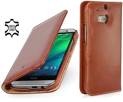 StilGut Talis Schutz-Hülle für HTC One M8 mit Kreditkarten-Fächern aus echtem Leder. Seitlich aufklappbares Flip Case in Handarbeit gefertigt für HTC One M8, Cognac - ohne Magnet