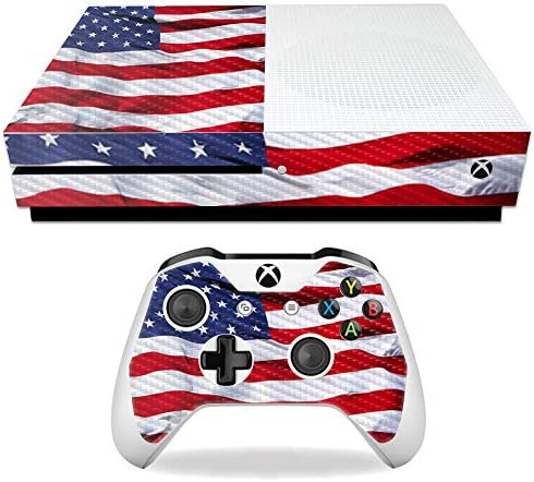 MightySkins Carbon Fiber Skin for Microsoft Xbox One S American Flag Protective Durable Textured product image